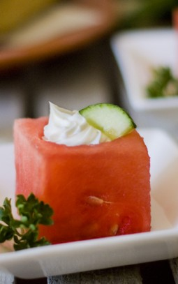 watermelon filled with goat's cheese