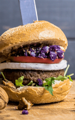 stevige burger met appel en Bettine geitenkaas