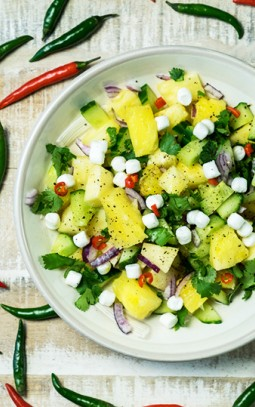 Spiced pineapple cucumber salad with Bettine goat cheese balls