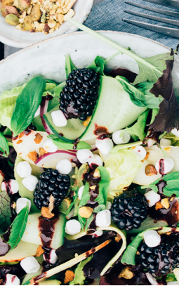 Goat's cheese salad with blackberry dressing