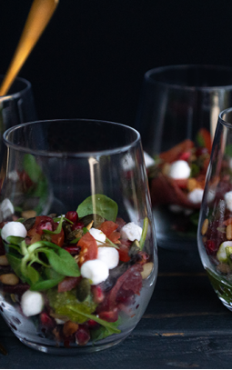 Carpaccio in a glass with Bettine goat's cheese